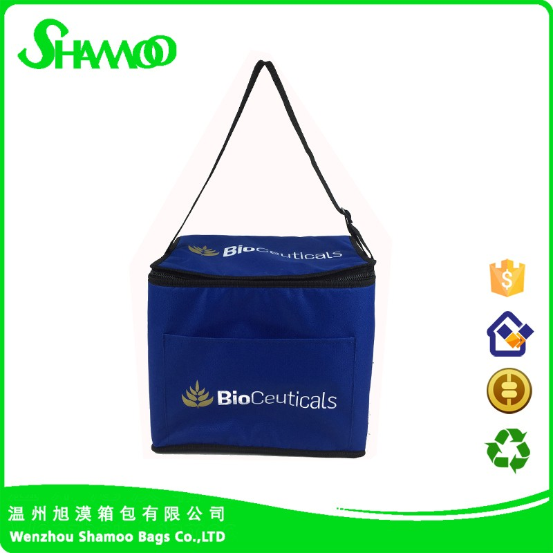 Large capacity and high quality 5MM PE foam insulated blue color cooler bag for delivery food