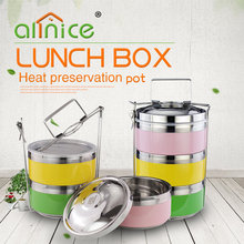 Hot sale stainless steel tiffin box/3layers carry lunch box/metal food container with steel cabas