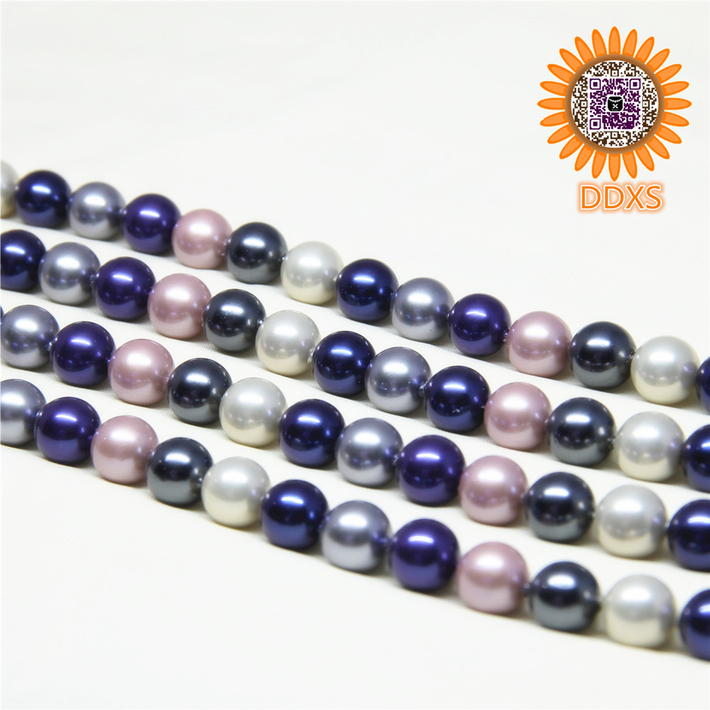 wholesale mix color 3-22mm round loose shell pearls strands