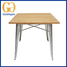 Metal frame with solid wood table top popular adjustable table