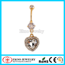 Gold Anodized CZ Crystal Heart Shape Belly Button Rings