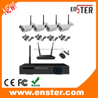 Home security HD h.264 p2p 720P 4ch wifi NVR Kits 4pcs bullet waterproof wifi ip camera wireless NVR kit