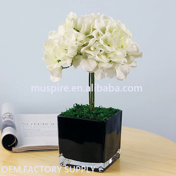 Processing customized hot sell hanging color square glass flower vase