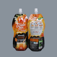 Custom design printing stand up spout bags for juice jam sauce plastic packaging