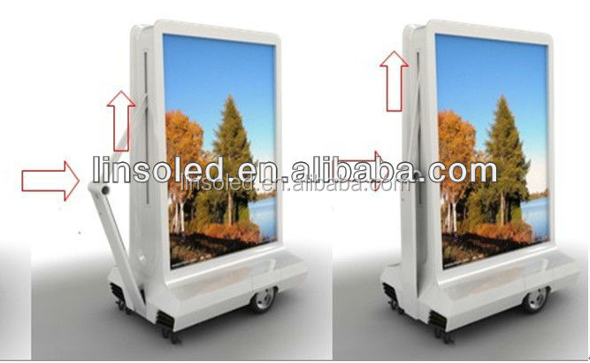 Outdoor Mobile LED Scrolling Light Box/LED Advertising Box trailer with Speaker for Sale, Can Be Easily Towed by Bicycle&Motorcy