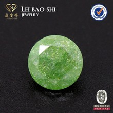 Synthetic light green#17 Round snowflake gemstone