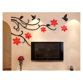 Flower Mirror Acrylic Glass Wall Art, Customized Acrylic Home Decoration With Your Own Design