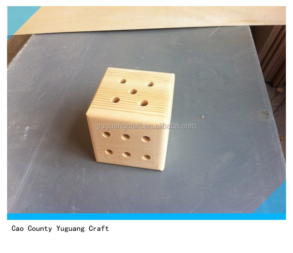 handmade pine wooden dice box for perfume