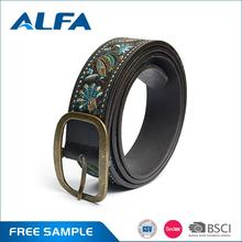 Alfa Hot Selling Products Lady Embroidery Fashion Pu Leather Belts