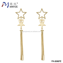 wholesale high quality alloy five star dangle earrings