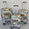 Printed PU Leather Travel Luggage Trolley Bag with 4 UNIVERSAL wheels