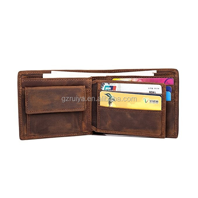 High Quality Men's Cowboy Genuine Crazy Horse Leather Vintage Bifold Wallet