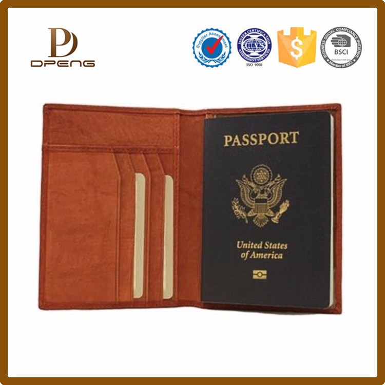 Wholesale custom genuine leather passport cover passport organizer