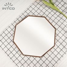 INTCO Modern Wood Color Tabletop Decorate Makeup Small Fancy Mirror Frame