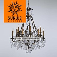 GuZhen manufacture graceful Oxide Brass 12 lights luxury crystal chandeliers