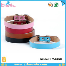 Cheap new design dark pink make leather dog collar and leash LY-045C