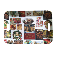 New christmas artwork design rectangular plastic vegetable tray