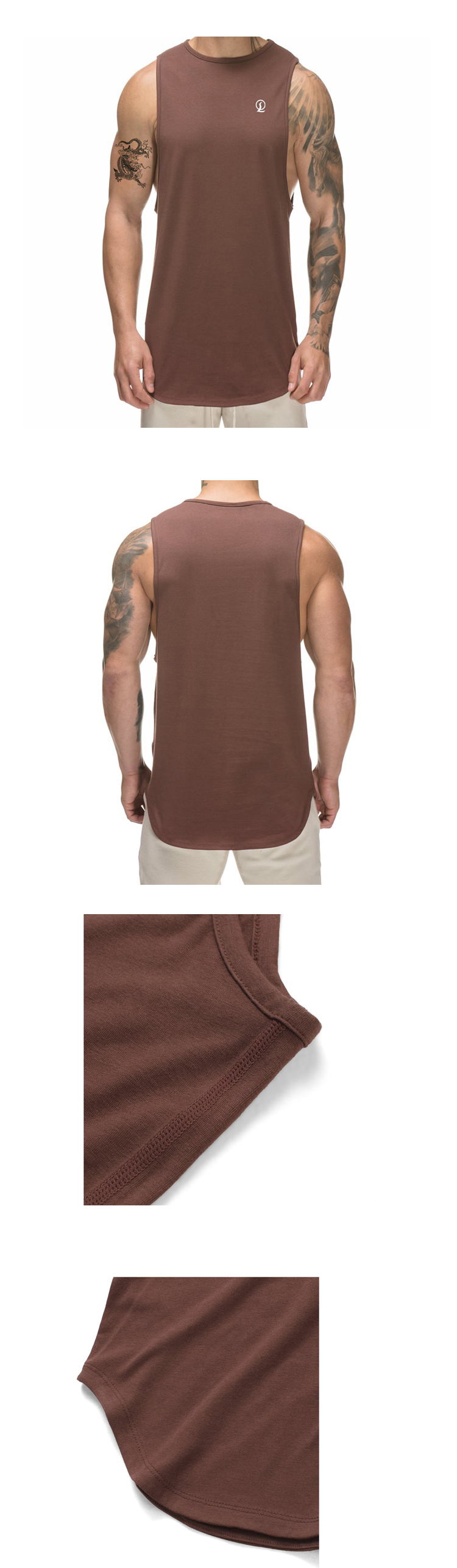 Cool dry scoop hem mens tank top quicky dry burnout tank top bodybuilding gym singlet customized