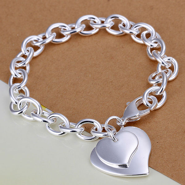 wholesale silver Fashion bracelet/bangle <strong>Jewelry</strong> trendy women double heart charm bracelets Free shipping