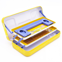 Lovely 3 layers tin pencil case with book holder