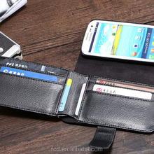 Money Clip Big Black Purse PU Leather Case Flip Cover for Samsung Galaxy S3 I9300 Waterproof RCD03771