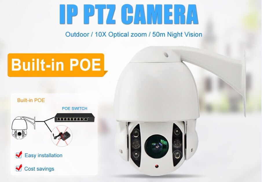 IPPTZ907-4.0MP-POE 4 Inch housing Indoor Outdoor 4.0 Megapixel Built-in P2P POE PTZ IP Camera