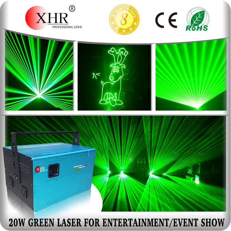XHR high brightness15w 20w 30W green laser light for theater outdoor laser show