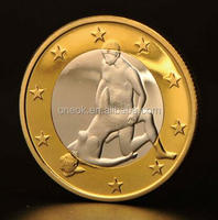 gold plated commentative metal sex euro coin