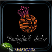 Crown Basketball Rhinestone Transfers Design For T shirts