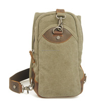 Canvas Crossbody bag with leather trim, Canvas Chest bag