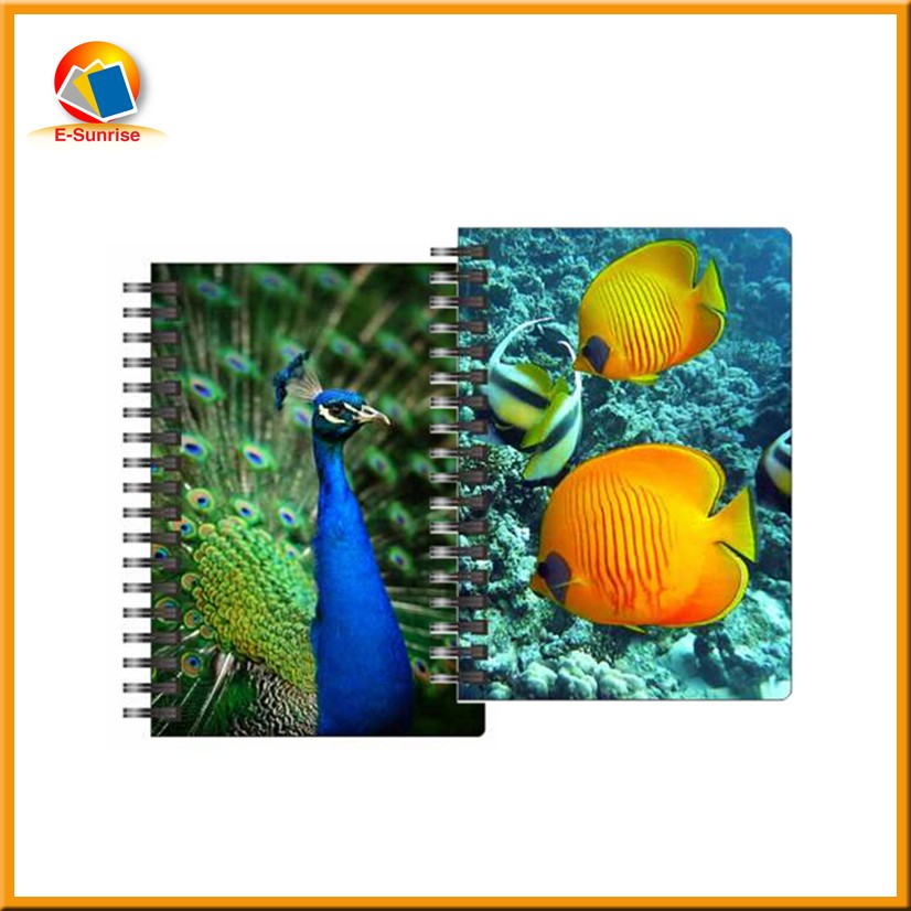 Custom 3d art notebook 3d spiral bound hard cover notebook