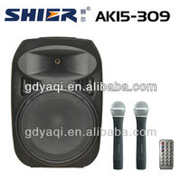 AK15-309 bluetooth speaker with 2 VHF microphone