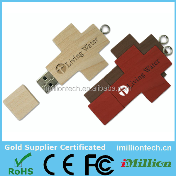 Gift engraving logo bulk Christian cross wooden usb, wholesale christian gifts usb pen drive for Christian church