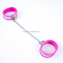 New Products With Pink Silicone Stainless Steel Restraint Ankle Cuffs For Adult Stimulate