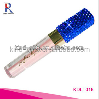 Bling bling funky blue diamond professional packaging square empty lip gloss tube