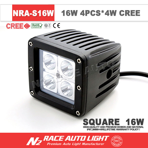 auto part 16w square work light led jeep pod work light 16w