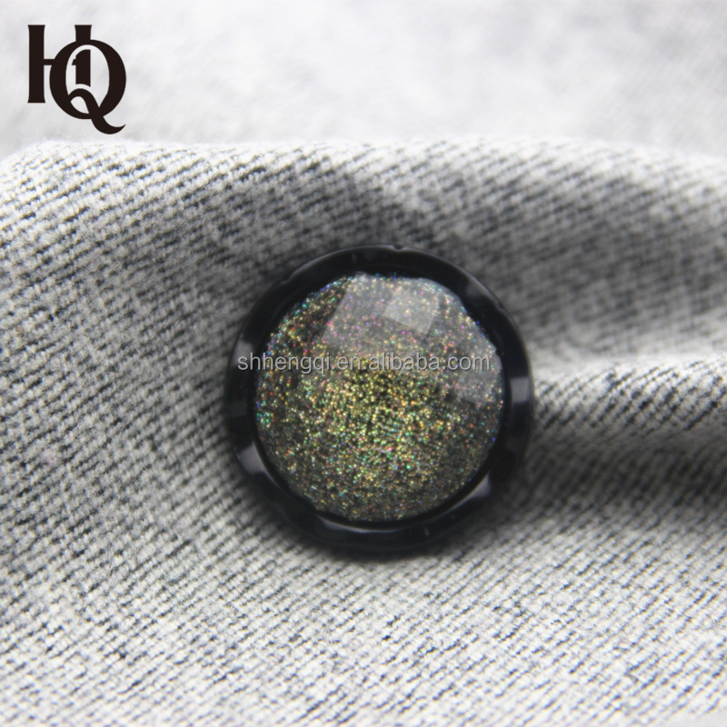 High-end hot sale fashion design glitter resin coats button with custom colors