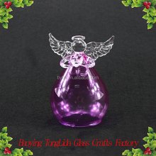 Stained glass angel figurines with wings hanging christmas tree decoration