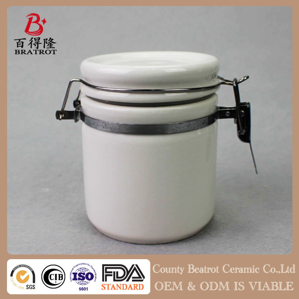 Simple white ceramic storage food kitchen canister