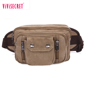 Customized multifunctional canvas travel sports running belt waist pack fanny pack wholesale unisex outdoor waist bag