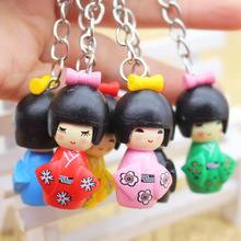 QS brand High quality wood carving keychain dolls japanese toy