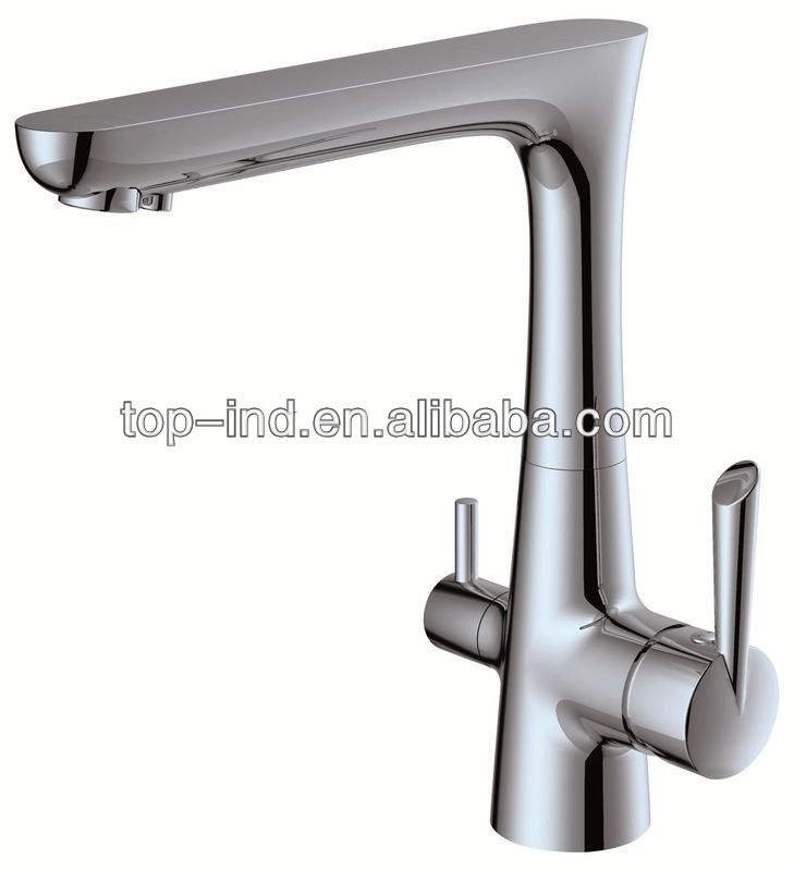 brass double handle kitchen tap faucet three way kitchen tap