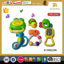 Smart plastic frog plastic baby rattle with light and music