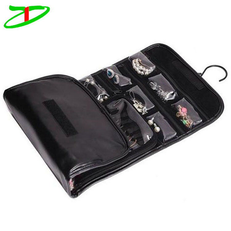 Travel Hanging Jewelry Roll Up Pouch Case Organizer Holder PU Leather Jewelry Bag