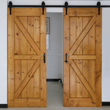Double plank panel wooden double main door design knotty pine sliding gates in American style