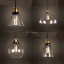 American Country Pendant Light Antique Industrial Lamps Glass Lampshade Edison Bulb Hotel Pendant Lamp