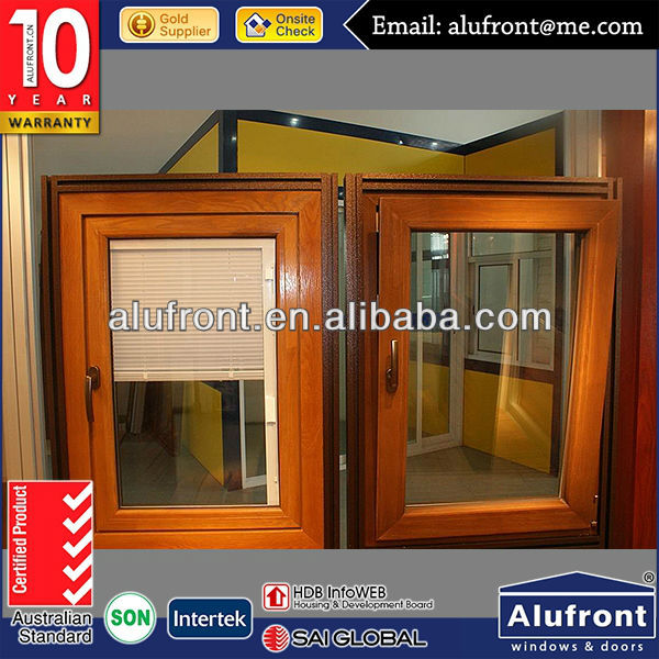 Aluminum Clad Wood Hinged Windows With Built-in Blinds/Casement Window/Swing Window