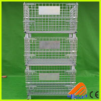 collapsable shipping container container for underground use folding stackable storage wire mesh basket contain
