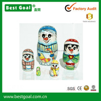 Snowman Snow Men Nesting Stacking Wooden Doll Matryoshka Christmas New Year Gifts Souvenirs 5pc