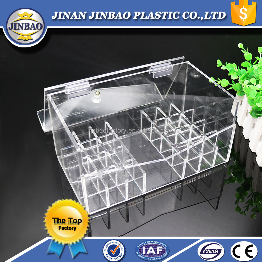JINBAO Table Top Clear High Glossy Acrylic Makeup Organizer with Handle